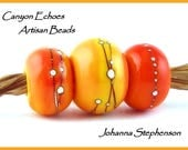 BIG HOLE Mango Silvered  Lampwork Bead Set by Canyon Echoes