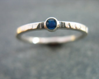 Hammered Gemstone Ring, Blue Sapphire Stacking Band Rustic Texture with Cabochon Fine Artisan Custom Jewelry