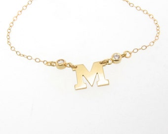 Gold Initial Necklace With Diamonds - 14K SOLID GOLD Your Letter, Ultra Feminine Initial Monogram Necklace
