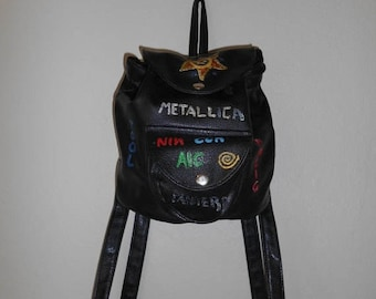 Closing Shop Sale 40% Off Vintage 90s mini backpack   bag  unique   hand made painted    bands   NIN White Zombie TOOL Metallica etc  access