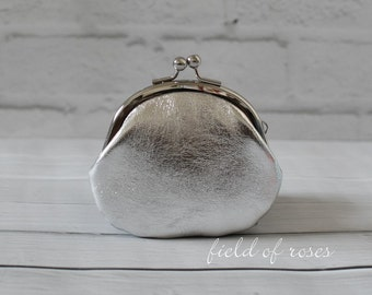 Metallic Silver Leather Clasp Change Purse Coin Purse Lambskin