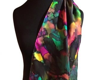 Multicolor Silk Scarf, Hand Painted Silk Scarf, Teal, Fucshia