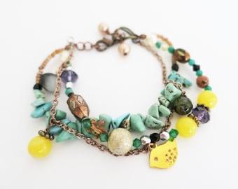 Turquoise Bracelet, Bead Bracelet Bohemian Woman, Chunky Bracelet Natural Stones Antique Brass, Unite Earth Stone Crystal Pearl Yellow Bird