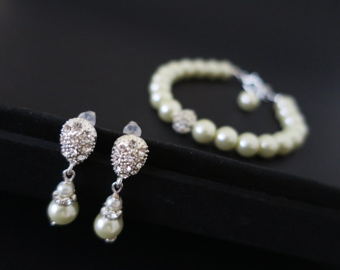 Drop Pearl Crystal Bracelet Earrings Jewelry Set