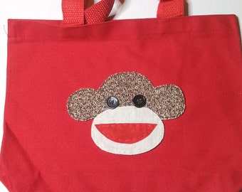 Sock Monkey Canvas Tote, Monkey Tote, Red Tote,Handmade Sock Monkey Applique, Applique, Tote, Travel Bag, Kids Tote Bag,Ready to ship