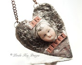 Mr Right Heart Necklace Soldered Doll Head Funny Heart Organic Silver Heart Pendant
