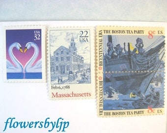 Love Massachusetts Wedding Postage, Boston Tea Party Swans Statehouse Stamps, Mail 20 Invitations 70 cents blue postage 2 oz, 2017 rate