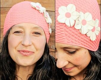 Swimming Cap, Swim Cap, Bathing Cap, Vintage Swim Cap, Swimming, Pink Hat, Pink Swim Cap, Flower Swim Cap,