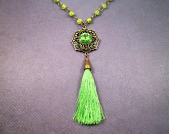 Tassel Necklace, Extra Long Necklace, Green Rhinestone Pendant Necklace, Brass Beaded Necklace, FREE Shipping U.S.
