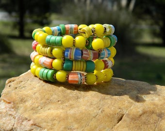 Olombo Padre Bead and Krobo Bead Bangle