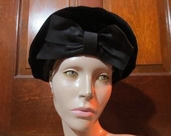 SALE Vintage 1950's 1960's Black Velvet Hat with Big Bow Gothic Lolita