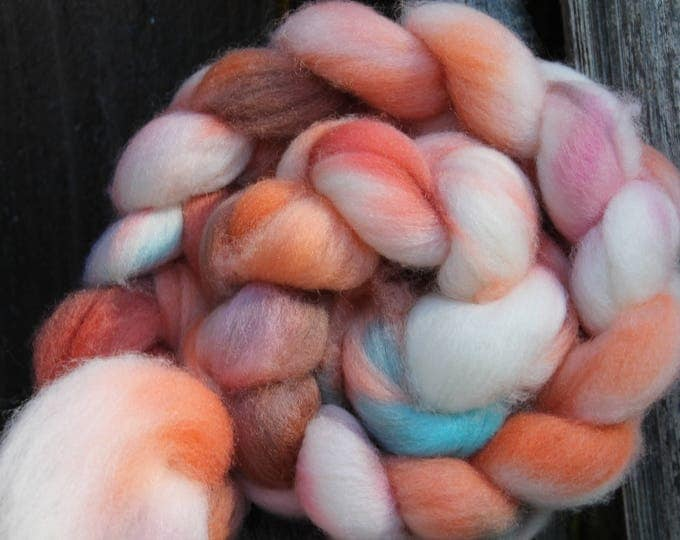 Kettle Dyed Falkland Wool Top.  Soft and easy to spin. 4oz  Braid. Spin. Felt. Roving. F160