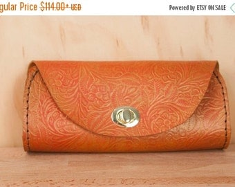 CLEARANCE SALE Small Leather Clutch - Handmade in Tooled Floral Leather in Flame - Leather Purse, Clutch, Wristlet, or Waist Bag