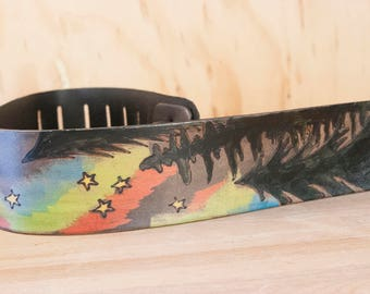Leather Guitar Strap - Handmade in the Stars pattern with trees and northern lights  - Acoustic or Electric Guitar, Banjo, Bass