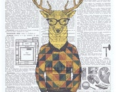 Hipster.Deer.argyle.geometric.Glasses.Cool.antique book page print.stylish.paris.nursery.den.home deco.art.eco.boyfriend.fahionista.guy gift