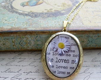 He Loves Me...He Loves Me Not, locket, original art,personalized lockets, gift box, Ready To Ship, vintage inspired , romance, valentine