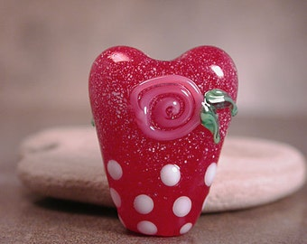 Art Glass Heart Focal Bead with Pink Roses Divine Spark Designs SRA