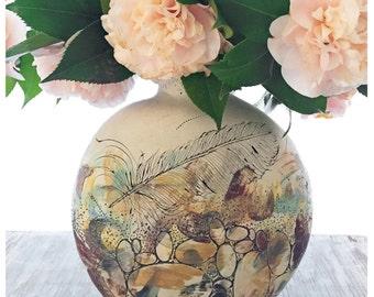 Landscape, Stone + Feather Canteen Vase