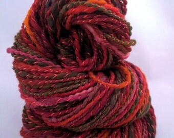 SILK POPPIES, handspun wool and silk chunky yarn, 132 yds/121 m, 2 oz/58 g