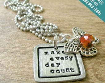 FLASH SALE, Make Every Day Count Necklace, butterfly charm, glass bead, alum ball chain, Butterfly Necklace, inspiration, free shipping USA