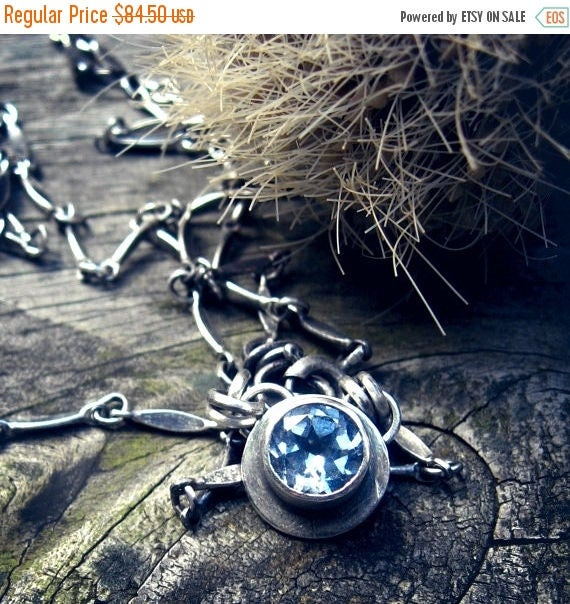 20% OFF TODAY Aquamarine sterling silver necklace