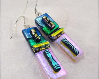 Dichroic glass jewelry, Fused glass earrings, Dichroic glass earrings, Green earrings, Hana Sakura, Bold statement earrings, glass fusion