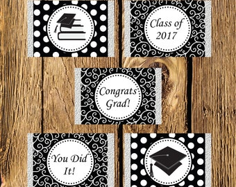 Printable Black and White Graduation Mini Candy Bar Wrappers - Instant Download
