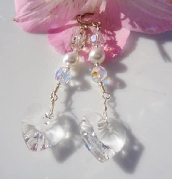Valentine Swarovski Crystal Heart Earrings Clear w Pearls