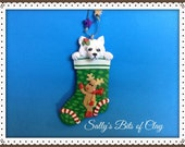 READY to SHIP! Samoyed dog Christmas Stocking Ornament by Sally's Bits of Clay Personalized with dog's name