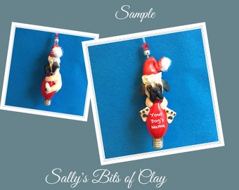 English Mastiff Santa Dog Christmas Holidays Light Bulb Ornament Sally's Bits of Clay PERSONALIZED FREE with dog's name
