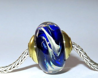 Luccicare Lampwork Bead - Pasha - FOCAL - Lined and Capped with Brass