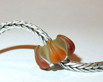 Luccicare Lampwork Bead - Frosted Amber Lily -  Lined with Sterling Silver