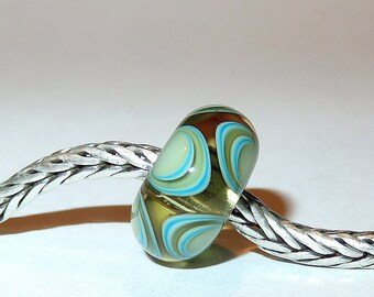Luccicare Lampwork Bead - Antique Circles -  Lined with Sterling Silver
