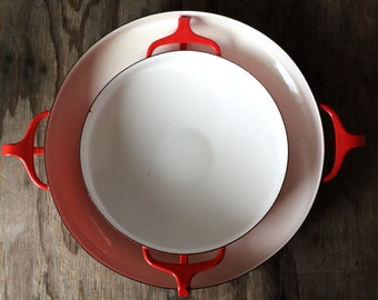 Set of 2 Dansk Paella Pan - Dansk Kobenstyle Enamel Red - Mid Century Design -