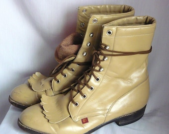 Ladies Size 10 Leather Hightop Ankle Boots Mens 8 .5 D Justin GS Laceup Oxford Flats Eu size 42 UK 7 .5 Desert Sand Granny Combat Rockabilly