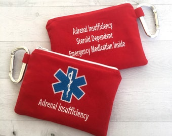 Medical Alert pouch, First Aid Kit, Epi-pen syringe Case, Epipen, Adrenal Insufficiency, personalized, Emergency Medical Bag, Addison