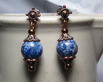 Lapis Lazuli and Copper Boho Post Earrings