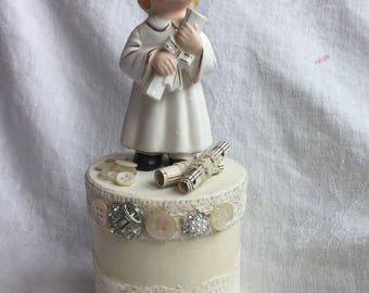 Graduate Girl Figure White Box Hand Painted Shabby Chic ECS sct schteam SVFTeam