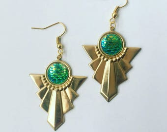 Mermaid Scale Irridescent Art Deco Brass Charm Earrings