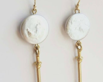 Coin Pearl Drop Amulet Earrings. Gold or Sterling Silver Drop Earrings. Statement Earrings.