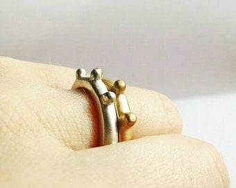 Organic Sterling Silver or 14K Solid Gold Statement Bubble Ring. Silver statement ring. Custom Ring.