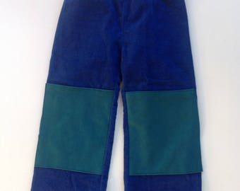 Handmade Corduroy Pant with Mock Suede Kneedpads - Size 0(6months)-2 (2T)