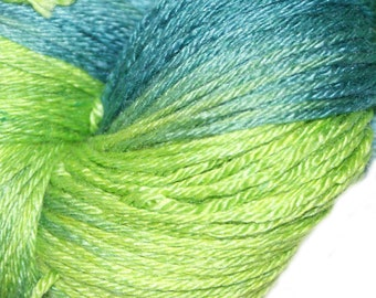 Leap Frog in Hand Dyed Poet Seat Fingering Weight Superwash Merino and Silk Yarn