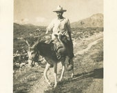 Vintage photo 1940 Mexican Man Riding Burro Back Country Hills