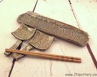 Ceramic Sushi Set - Stoneware Serving Tray - Handmade Condiment Dishes and Chopstick Rests - Ready to Ship - Textured  Blue Gray s528