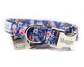 Pink Flower Dog Collar, Rosa in Navy