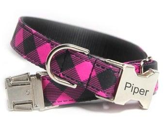 Engraved Buffalo Plaid Dog Collar, Pink and Black Check, Buffalo Check, Personalized Pink Buffalo Plaid Collar