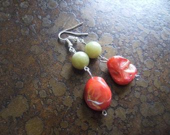 Joyful Joy Mother of Pearl and Glass Beaded Dangle earrings