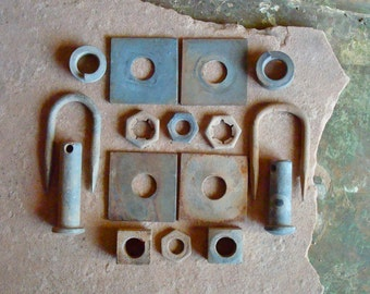 Rusted Metal Square Nuts Washers Plates with Holes Found Objects Supplies for Assemblage, Altered Art , Sculpture - Industrial Salvage
