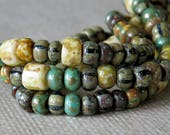 6/0 Green Turquoise Tile Striped Czech Glass Bead Picasso Seed Bead Mix : 10 inch Strand 6/0 Picasso Aged Seed Bead Mix